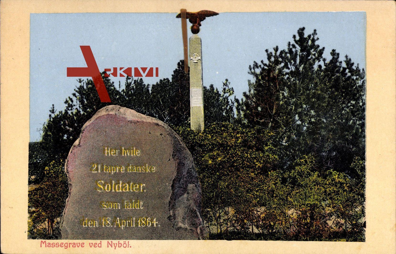 Nyböl Sogn Dänemark, Massegrave, Gedenkstein, 18. April 1864