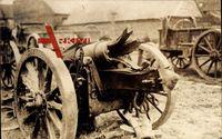 Krieg 1914, Zerstörtes Geschütz, Explodierter Kanonenlauf