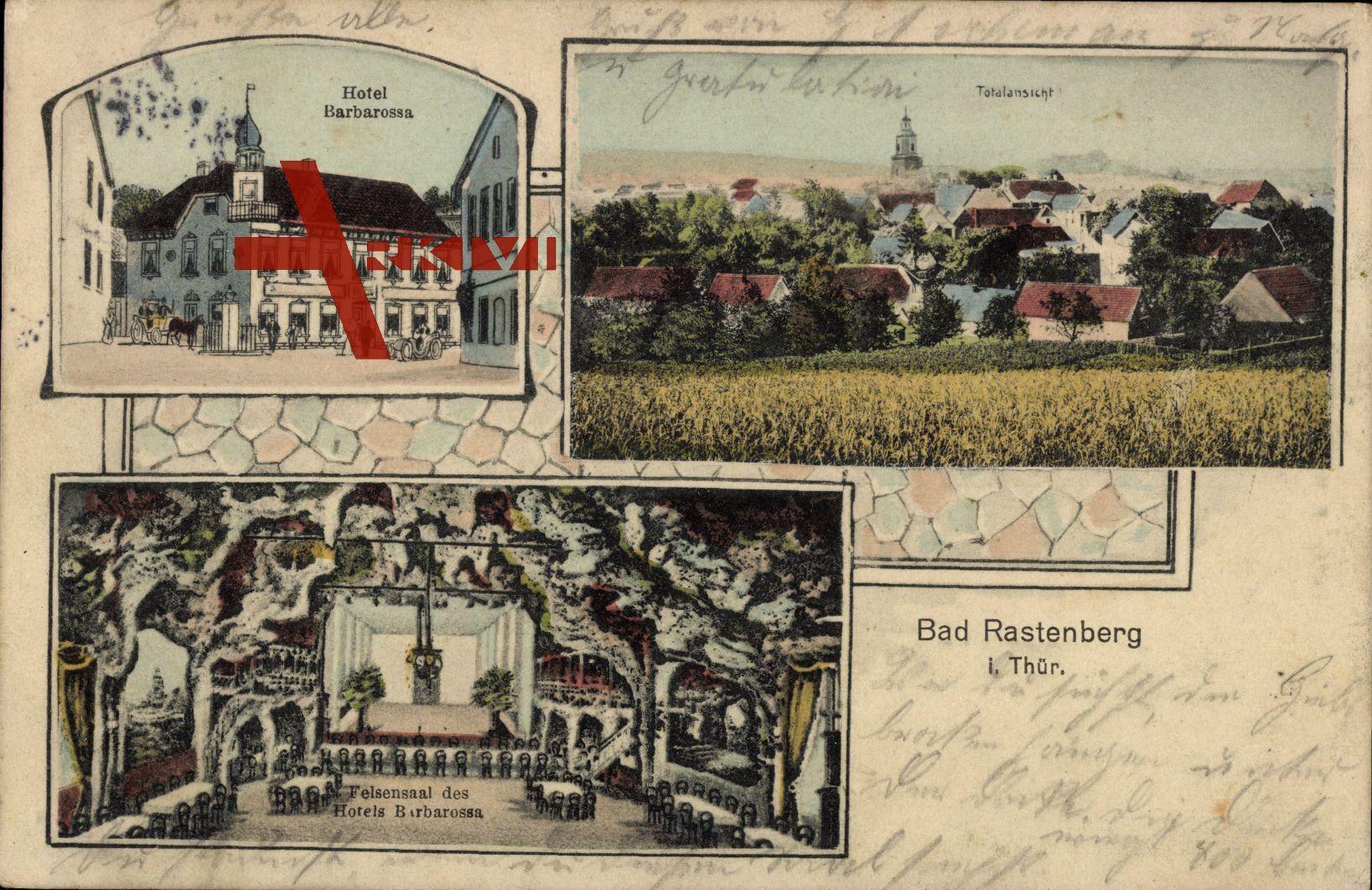 Rastenberg in Thüringen, Hotel Barbarossa, Felsensaal, Totalansicht des Ortes