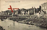 Fresnes Aisne, vue générale des ruines de la ville, Denkmal von 1870,monument