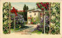 Glückwunsch Geburtstag, Blick zu einem Wohnhaus, Garten, Frühling