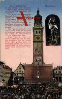 Augsburg in Schwaben, Blick zum Turamichele, Feier auf dem Markt, Sage