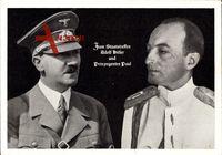 Führer und Reichskanzler Adolf Hitler und Prinzregent Paul von Jugoslawien um 1939