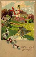 Glückwunsch Ostern, Weidenkätzchen, Kirche, Fluss, Frühling