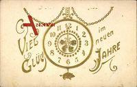 Glückwunsch Neujahr, Uhr, Ziffernblatt auf Mitternacht, Schwein