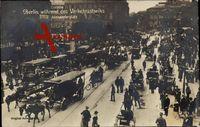 Berlin, Der Alexanderplatz während des Verkehrsstreiks, Kutschen