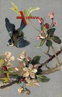 Spatz im Flug, Kirschblüten, Frühling, Kitsch