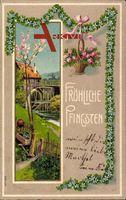 Glückwunsch Pfingsten, Wassermühle, Frühling, Kitsch