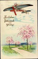 Glückwunsch Geburtstag, Flugzeug, Frühling, Feldweg