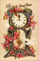 Glückwunsch Neujahr, Standuhr, Weiße Tauben, Kitsch