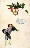 Glückwunsch Neujahr, Taschenuhr, Junge mit Sektflaschen