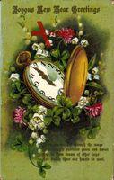 Glückwunsch Neujahr, New Year Greetings, Taschenuhr, Kleeblätter