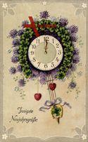 Glückwunsch Neujahr, Wanduhr, Pendel, Hufeisen aus Klee, EAS 17565 6