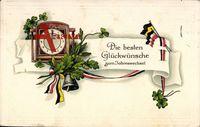 Glückwunsch Neujahr, Wanduhr, Eichenblätter, Patriotik, Glocke