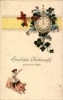 Glückwunsch Neujahr, Taschenuhr, Kleeblätter, Schwein