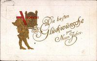 Glückwunsch Neujahr, Zwerg stellt Uhr um, Kleeblatt
