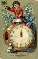 Glückwunsch Neujahr, Wecker, Uhr, Mitternacht, Kleeblatt, Vergissmeinnicht
