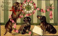 Glückwunsch Neujahr, Drei Dackel, Wanduhr, Kleeblatt, Rosen, Kitsch