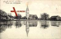 Berlin Tempelhof Lichtenrade, Blick über den See auf die Kirche