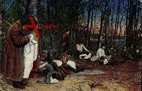 Eine russische Entlausungsanstalt, Männer, Wald