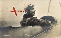 Pilot Célestin Adolphe Pégoud in der Maschine, Sanke