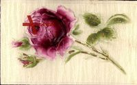 Relief Rose mit pinker Blüte, goldene Verzierungen
