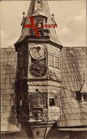 Ochsenfurt am Main, Kunstuhr am Rathaus, Glocke, Figuren