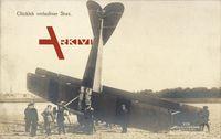 Glücklich verlaufener Sturz, abgestürztes Flugzeug, Sanke
