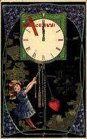 Glückwunsch Neujahr, Uhr, Mädchen, Herz, Veilchen
