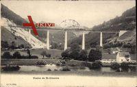 St. Ursanne Kanton Jura, Blick auf das Viadukt im Tal