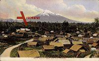Parihaka Neuseeland, Blick von der Ortschaft auf den Berg Egmont