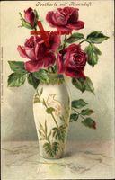 Vase mit roten Rosen, grüne Blätter, Verzierte Vase