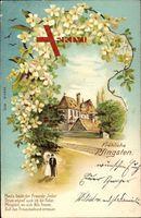 Glückwunsch Pfingsten, Mann und Frau, Spaziergang, Flieder