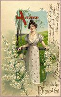 Glückwunsch Pfingsten, Frau im Kleid, Wiese, Flieder