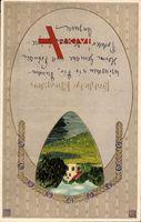 Passepartout Glückwunsch Pfingsten, Landschaftsidyll