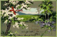 Glückwunsch Pfingsten, Landschaftsidyll, Wiese, Bäume
