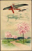 Glückwunsch Pfingsten, Flugzeug, Monoplan, Frühlingsblüte