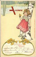 Jugendstil Glückwunsch Pfingsten, Mädchen mit Blumen