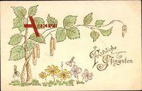 Glückwunsch Pfingsten, Birkenast, Blumen