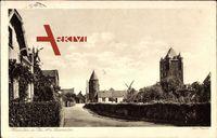 Xanten Rhein, Partie am Clevertor, Windmühle, Türme