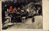Deutsche Soldaten sitzen am Tisch, Erster Weltkrieg