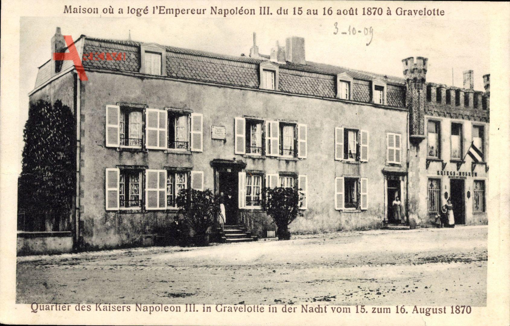 Gravelotte Moselle, Quartier von Kaiser Napoleon III vom 15. zum 16. 8. 1870