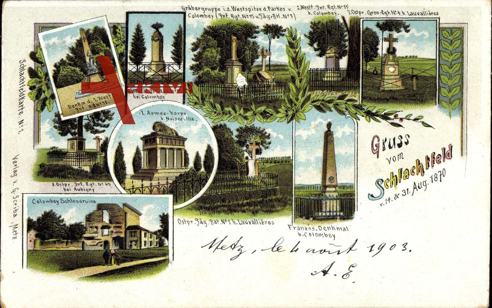Moselle, Schlachtfeld, 31 August 1870, Kriegsdenkmäler, Colombey Schloss