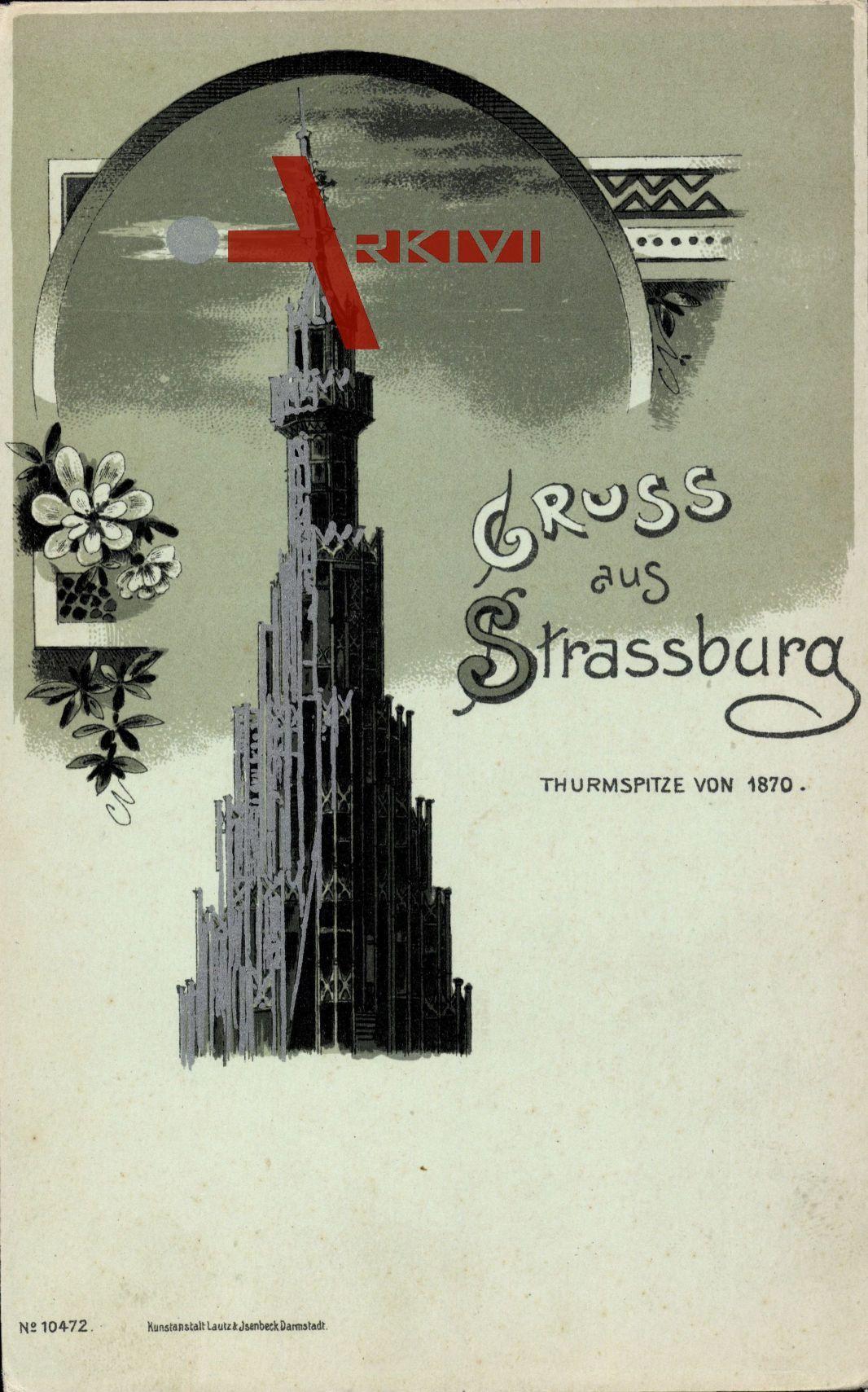 Strassburg Elsass Bas Rhin, Turmspitze von 1870, Mondschein