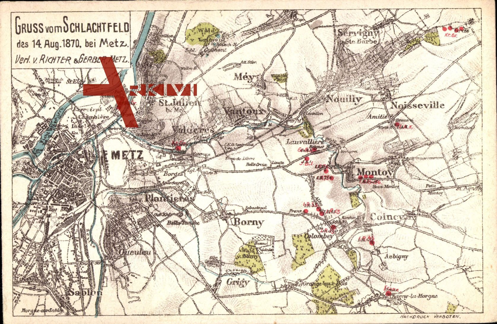 Landkarten Metz Moselle, Schlachtfeld des 14. Aug. 1870, Montoy, Colombey