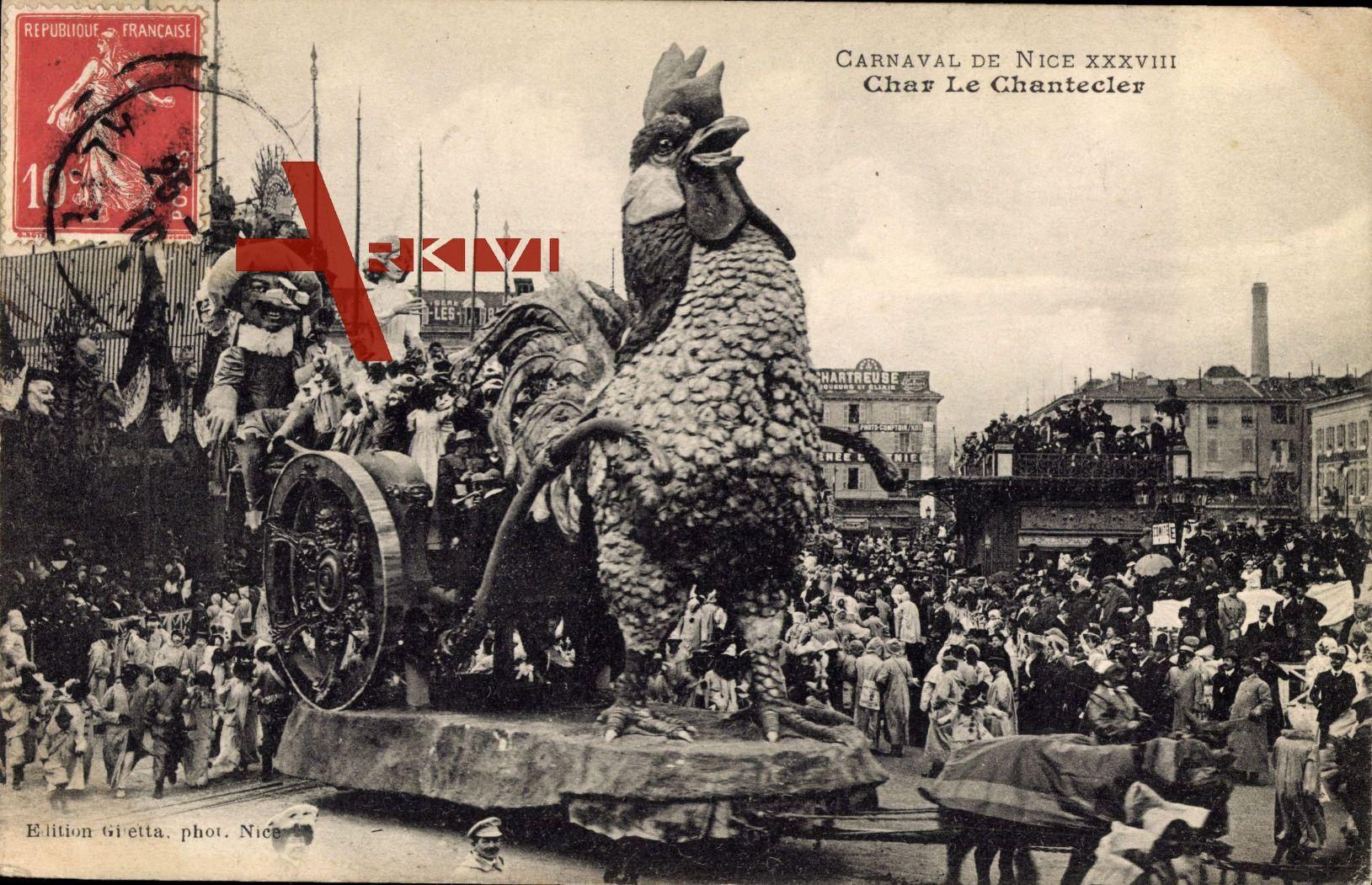 Nice Nizza Alpes Maritimes, Carnaval XXXVIII, Char Le Chantecler
