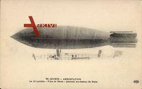 Zeppelin, dirigeable Ville de Paris, planant au dessus de Paris