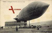 Verdun, Zeppelin, dirigeable Ville de Paris, sorti son hangar
