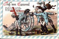 Passepartout Gruß vom Karneval, Kanone, Pferd, Weinflaschen