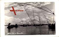 Hanoi Vietnam, Soir au Grand Lac, Fischer bei de Arbeit